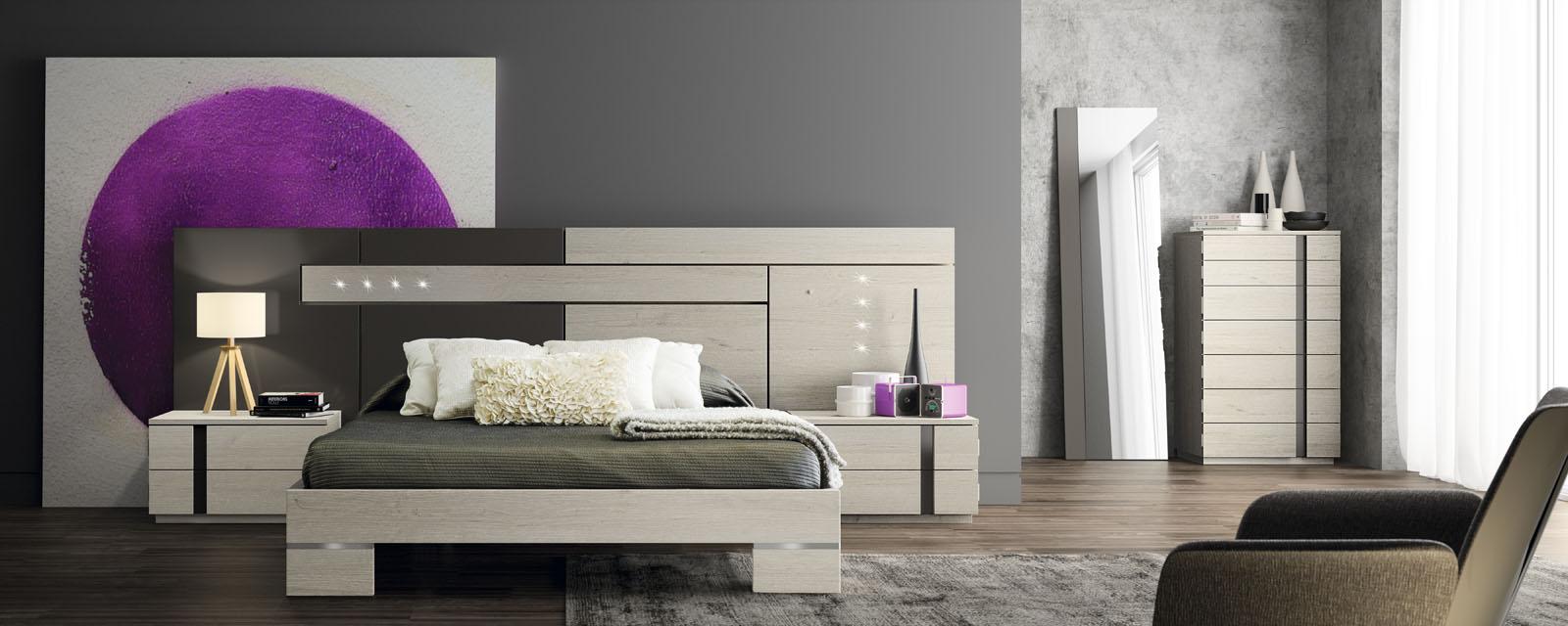 Dormitorio matrimonio con bancada y luces leds - Makro Mueble