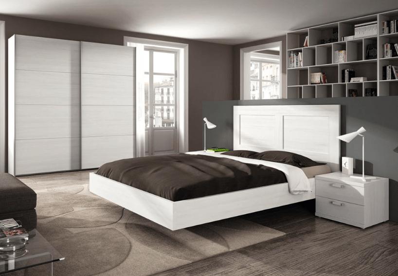 Dormitorio matrimonio en color blanco con bancada y armario puertas correderas - Makro Mueble
