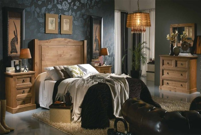 Dormitorio matrimonio linea rustica colores a la cera - Makro Mueble