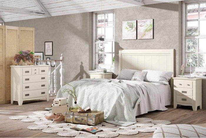 Dormitorio matrimonio madera-pino lacado en blanco - Makro Mueble