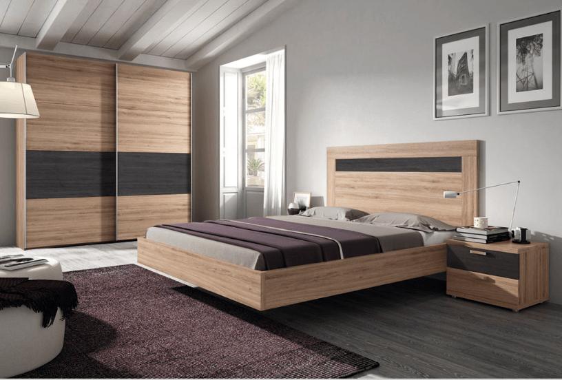 Dormitorio matrimonio moderno color nature con grafito - Makro Mueble