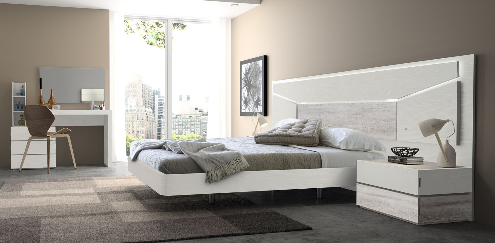Dormitorio matrimonio moderno con leds - Makro Mueble