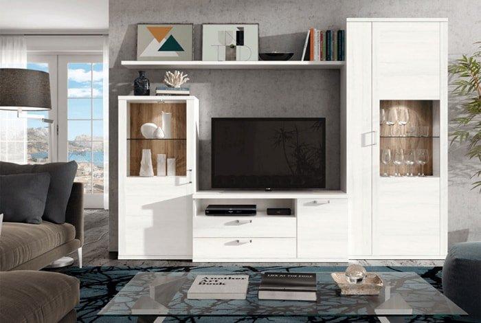 composición de salón moderna color blanco - Makro Mueble