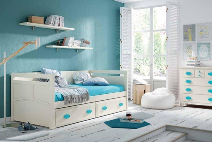 Composición juvenil en pino color blanco-azul - Makro Mueble