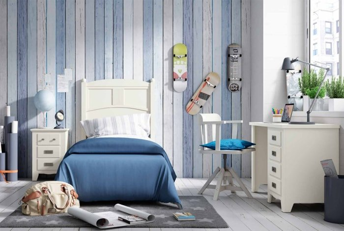 Dormitorio juvenil madera pino linea provenzal - Makro Mueble