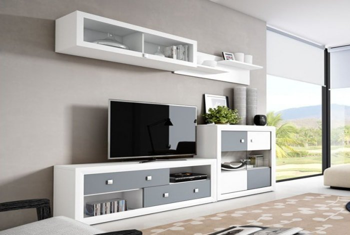 salon colores blanco y grafito - makro mueble