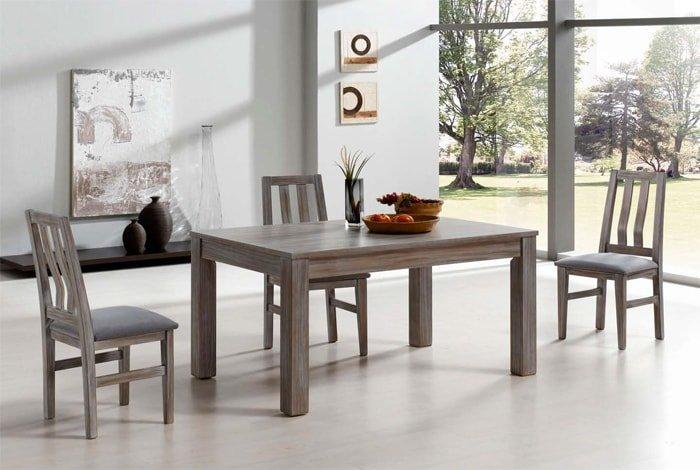 Conjunto de mesa y sillas madera pino - MakroMueble