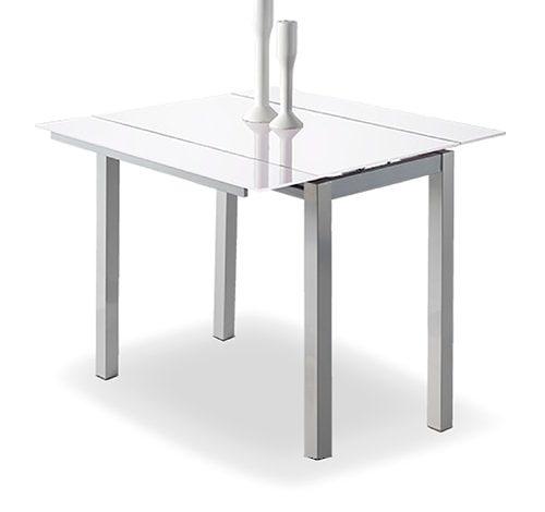 Mesa de cocina extensible con alas laterales 95x55 - 95x76. Tapa de cristal varios colores - MakroMueble