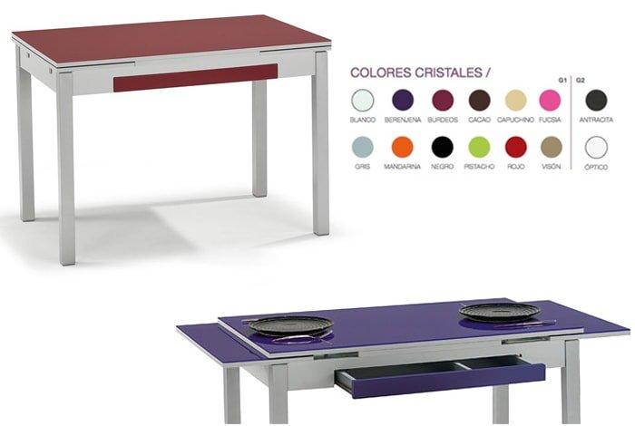 Mesa de cocina extensible con alas. Tapa de cristal. Varias medidas y colores - MakroMueble