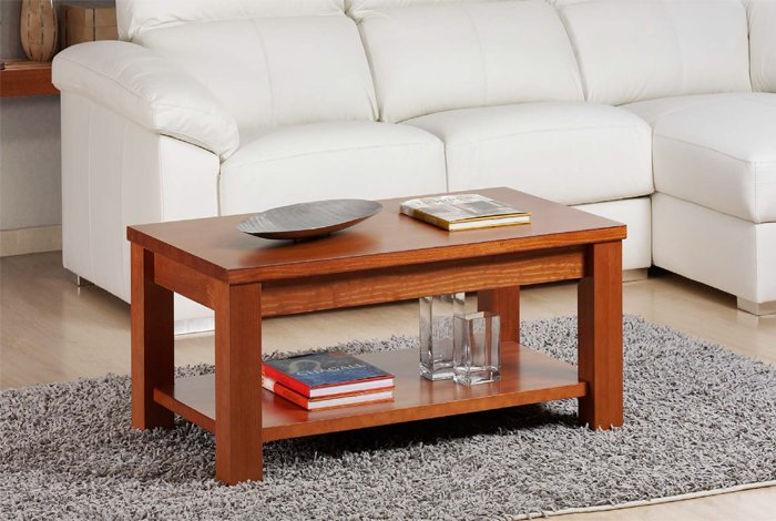 Mesa madera pino elevable con revistero. Varios colores