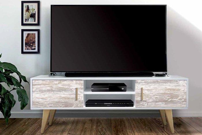 Mesa tv puertas acabado vintage - MakroMueble