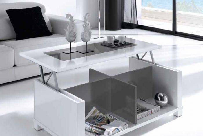Moderna mesa de centro elevable con tapa de cristal - MakroMueble