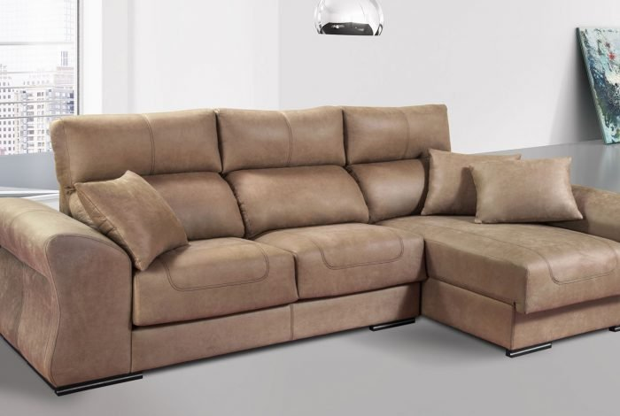 Sofá chaise longue con arcón y 2 puff. Varias medidas y colores - MakroMueble