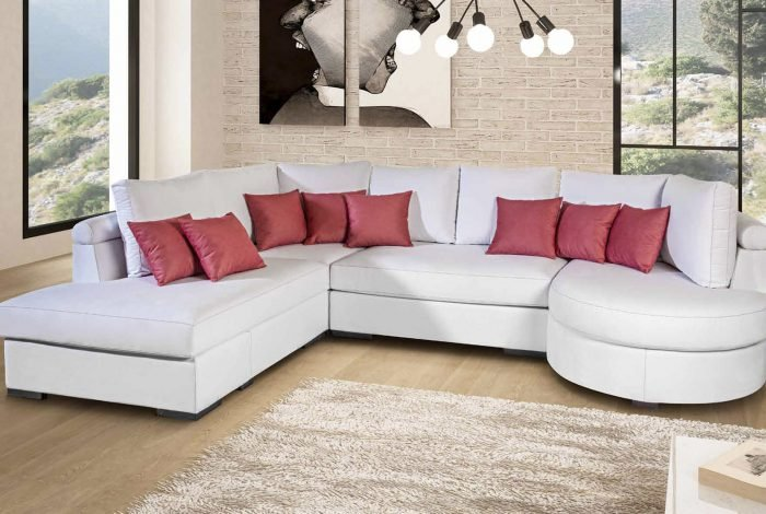 Sofá con rinconera y chaiselongue. Varias telas y colores - MakroMueble