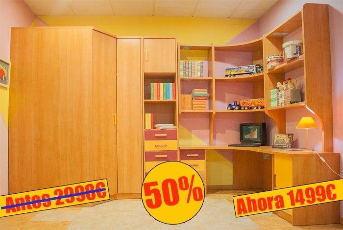 Dormitorio juvenil en color cerezo compuesto armario + rincon superfondo +sinfonier + estamteria - MakroMueble