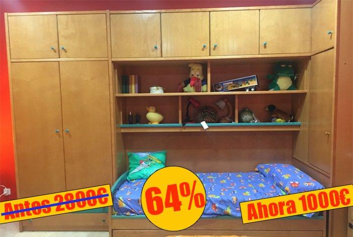 Dormitorio juvenil puente con cama nido - MakroMueble