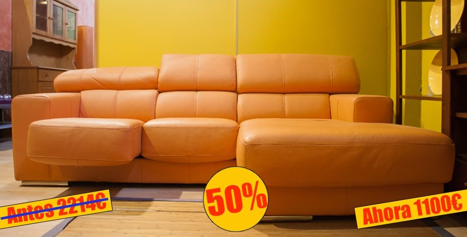 Exclusivo sofa chaise longue en piel - MakroMueble