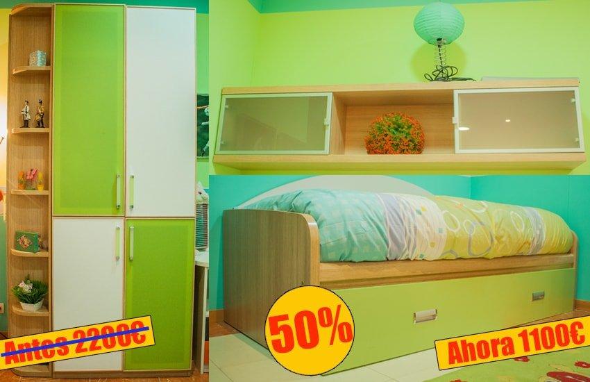 Mueble juvenil compuesto armario + zapatero + cama - MakroMueble