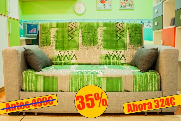 Sofa cama sistema arrastrable, colchon espuma - MakroMueble